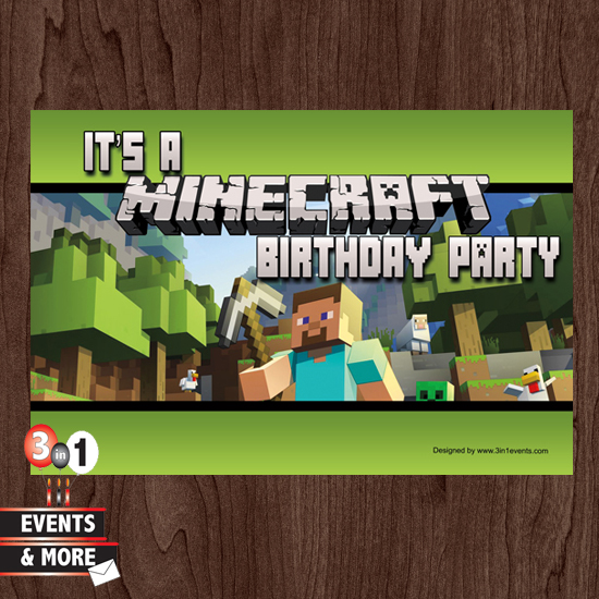 Minecraft Birthday Party Invitations | Ceylinks.Com